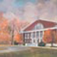 The Gymnasium at Davidson College completed in 1949 and named in memory of Charles Worth Johnston '84. This rendition is the work of William J. Reynolds of Sumter, S.C., world renowned aviation artist.<br />