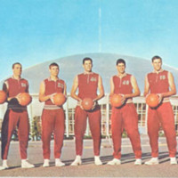 Seven lettermen, including ALL AMERICANs Fred Hetzel (center) and Dick Snyder (2nd from right) of Davidson College's nationally ranked basketball team before their Charlotte, N.C. Coliseum Home court.<br />